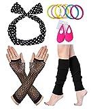 Fun Daisy Costume 80er Jahre Outfit Kostüm Accessoires Fischnetz Handschuhe Beinlinge Stirnband