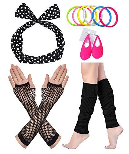 er Jahre Outfit Kostüm Accessoires Fischnetz Handschuhe Beinlinge Stirnband (Disco Themed Kostüm Ideen)