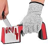 DeYoun Messerschärfer Messerschleifer, 4-in-1 Professionelle Messerschärfer hilft bei der Reparatur, Wiederherstellung und Politur Ihrer Küchenmesser Küchenschere - Schnittfeste Handschuhe Inklusive.