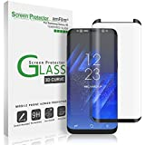 Galaxy S8 Protector de Pantalla, amFilm 3D curvado Protector de Pantalla para Samsung Galaxy S8 Vidrio Templado Protector de Pantalla de Cristal Templado de Película Protectora para el Samsung Galaxy S8 (negro) [Bubble Free Guarantee]