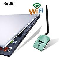 KuWFi Adaptador de WiFi, 150 Mbps Adaptador de red inalámbrico WiFi Ralink3070L con 5dBi Antena Adaptador de largo alcance Tarjeta de red inalámbrica Wifi USB para PC / TV