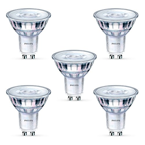5x Philips LED Glass GU10 50w A+ Dimmable Spot Light Bulbs Lamp 350lm Warm White -
