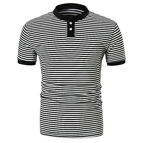 Preisvergleich Produktbild HUIHUI t Shirt Herren v Ausschnitt Slim fit Oberteile große größen Polo mit Brusttasche (Schwarz, XXL)