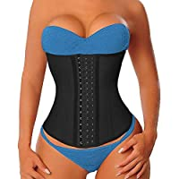 YIANNA Women's Latex Long Torso Waist Trainer 17 Steel Boned 3 Hook Rows, Size L (Black)