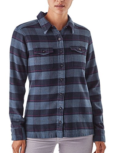 Patagonia W' S L/S Fjord Flannel Camicia, Donna Boxwood Plaid: Navy Blue