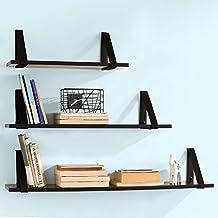 SoBuy® Juego de 3 estantes para pared, Estanterías de pared para CDs y libros, Negro, FRG29-SCH, ES