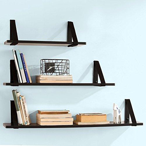SoBuy® Juego de 3 estantes para pared, Estanterías de pared para CDs y libros, Negro, FRG29-SCH,