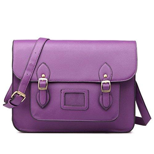 Borsa A Tracolla Da Donna A Tracolla Miss Lulu In Pelle Pu 35cm X 11cm X 25cm (lt1665-viola) Lt1665-purple
