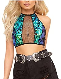 c04b38a7c4992e Webla Women Casual Halter Sequins Backless Tank Crop Tops Sexy Hollow Out  Vest Green