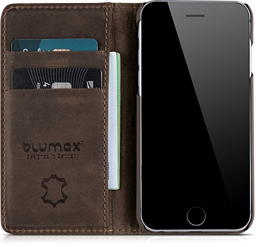 "Blumax Wallet Tasche iPhone 6 / 6s Lederhülle Premium Design Case 4,7"" Zoll Schutzhülle ohne Magnet Klapphülle Antik-Braun für Apple iPhone Geschenkidee Antik Braun"