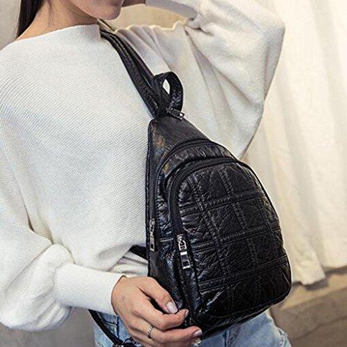 Y&F Schultergewebe Handtaschen Sport-Mehrzweck-WäSche-Brusttasche Schultertasche Schwarz 7 * 23 * 31 Cm E