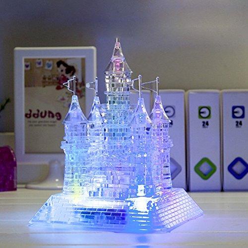 3D Crystal Castle Puzzle mit LED-Licht, klares Schloss für SainSmart Jr. Sparkle Music Flash Model DIY Castle Intelligente Puzzles, farblos, Free Size - Kristall Klar Beleuchtung