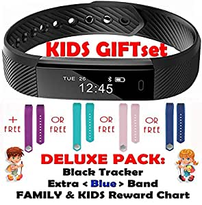 Kids Fitness Activity Tracker for Children, Adults - Health Smart Wristband for Women Men iOS iPhone Android Bluetooth Pedometer Step Counter Sleep Monitor Trackers (Deluxe Blue Gift Set 2 Bands)