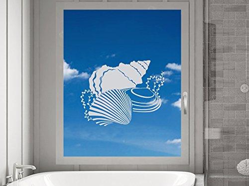 GRAZDesign 980024_30 Fenstertattoo Maritim/Verschiedene Muscheln | Fensteraufkleber fürs Bad - Glastattoo Bad-Fenster (39x30cm)