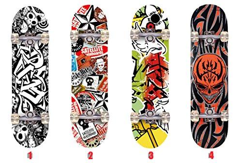 Senmi WIN.MAX 9 Plies d'érable Skateboard Planche à Roulette pour Débutant Intermédiaire 3D Alphabet Skull Cool Motif Barbouillages Avec Sac de Skateboard