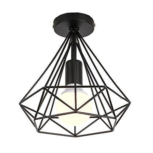 STOEX Plafonnier industrielle Retro 25cm en forme Diamant Suspension Luminaire pour Salle à Manger,Bar,Chambre (Noir)