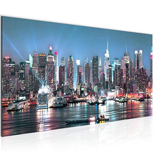 Runa Art Bilder New York City Wandbild Vlies - Leinwand Bild XXL Format Wandbilder Wohnzimmer Wohnung Deko Kunstdrucke Blau 1 Teilig - Made IN Germany - Fertig zum Aufhängen 605412a