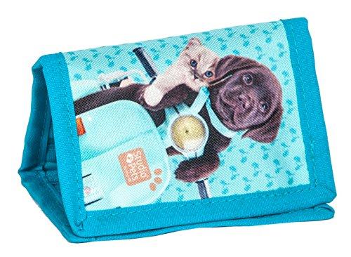 Kinder Geldbörse BRUSTBEUTEL Portemonnaie Geldbeutel Mädchen Börse Hund Studio Pets Blau Türkis