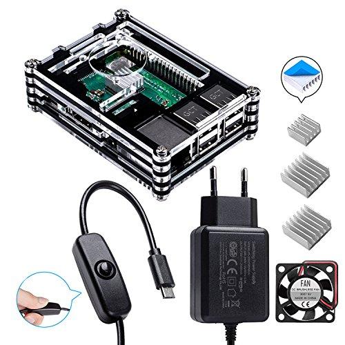 Smraza Raspberry Pi 3 b+ Gehäuse mit 1.5m Kabel Netzteil 5V 2.5A mit Schalter Ein/aus + Lüfter + 3 x Kühlkörper für Raspberry Pi 3 Pi 2 Modell b+ b Case(Ohne Raspberry Pi)
