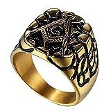 LANCHENEL Männer Schmuck Titan Stahl Retro Punk Masonic AG Logo Ringe,Größe 65(20.7)