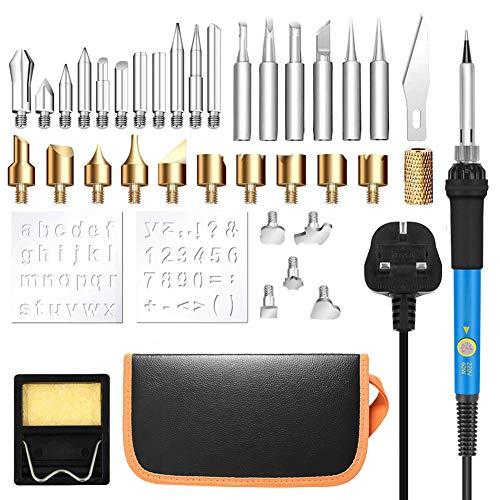 CRZJ Brandmalerei Lötkolben Set, mit Einstellbarer Temperatur Schweißgas Holzofen, Prägung/Gravur/Schweißspitzenhalterung, mit Handtasche -