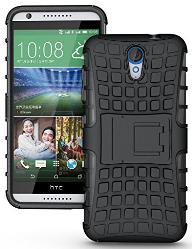 Wow Imagine™ Defender Tough Hybrid Armour Shockproof Hard PC + TPU with Kick Stand Rugged Back Case Cover for HTC Desire 620 620G Dual - Black