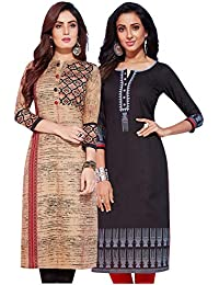 Jevi Prints - Pack of 2 Women's Unstitched Lawn Cotton Printed Kurti Fabrics (Fabrics only for Top)