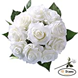 StarLifey Seda Flores Artificiales Rosa 10 Jefes de Seda Artificial Flores Falsas Tan Natural (Blanco)