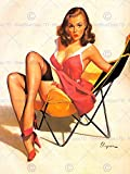 PORTRAIT PINUP GIRL RED DRESS STOCKINGS CHAIR HEELS USA ART PRINT POSTER CC884