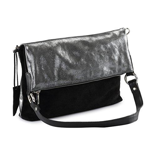 HYDESTYLE  Lb31, Damen Rucksackhandtasche schwarz metallic