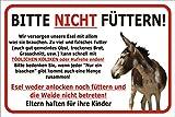 AdriLeo Schild Esel nicht füttern 15x20, 20x30, 30x40 oder 40x60cm Weide betreten verboten (20x30cm)