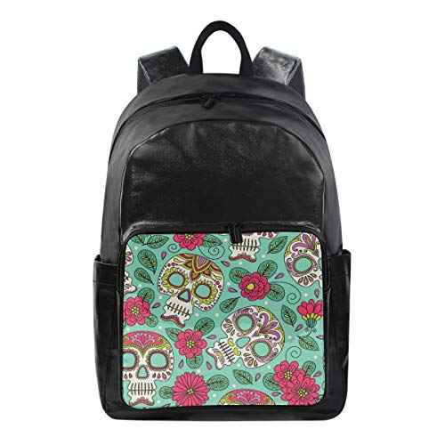 Lustiger Rucksack mit Blumenmuster und süßem Totenkopf-Schultertasche für Wandern, Camping, Schule, Reisen, Computertasche für Kinder Jungen Mädchen Herren Damen