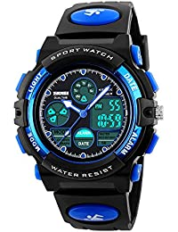 Hiwatch Kids Sport Watch Outdoor Digital for Boys Girls Children Dual Time Zone Waterproof PU Resin Band Watch with Chronograph Alarm Classic Design Calendar Date Window Unusual Analog Quartz Blue
