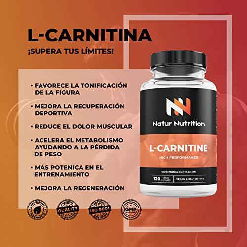 L- Carnitina,  suplemento deportivo quemagrasas,  ayuda perdida de peso,  aumento de resistencia,  rendimiento deportivo y reducción de fatiga muscular. 120 cápsulas vegetales,  sin gluten. Fabricado en UE.