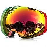 ZIONOR Lagopus X4 Snowmobile Snowboard Skate Occhiali da sci con il 100% di protezione UV400 Magnet obiettivo veloce cambiamento sferica senza telaio Occhiali da sci (Rosso)
