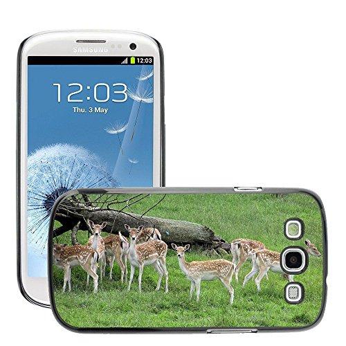 Grand Phone Cases Bild Hart Handy Schwarz Schutz Case Cover Schale Etui // M00141444 Fallow Deer Herde Park Weibliche Grass // Samsung Galaxy S3 S III SIII i9300 - Handy S3 Galaxy Samsung Case Deer