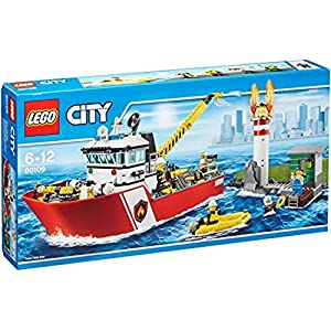 LEGO-City Pompieri Motobarca Antincendio, Colore Non specificato, 60109  LEGO