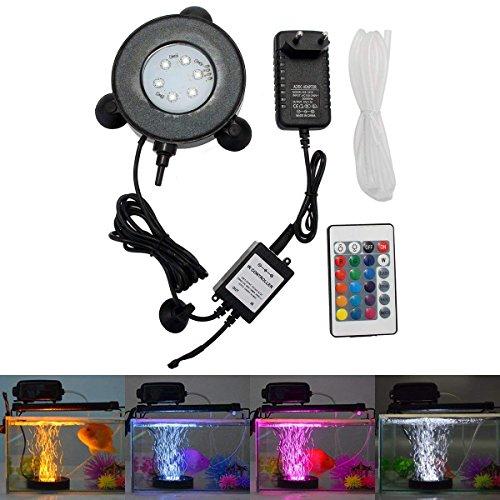 greensun LED Lighting Acquario Illuminazione Spot Light 6LED subacquea Spot Luce IP68impermeabile luce di telecomando a 24tasti Acquario Pesce Serbatoio Laghetto con spina EU
