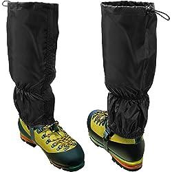 CampTeck U6843 Polainas Impermeables Poliéster (Tamaño Unico) Senderismo, Caminar, Orientación, Montañismo, Escalada, Caza, Nieve o Aventura al Aire Libre - 1 Par Negro