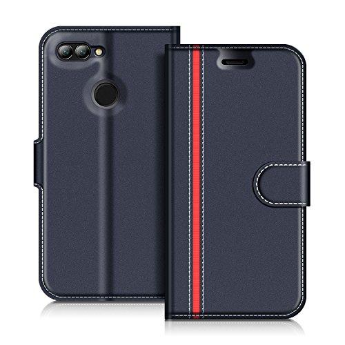 COODIO Huawei Nova 2 Hülle Leder Lederhülle Ledertasche Wallet Handyhülle Tasche Schutzhülle mit Magnetverschluss/Kartenfächer für Huawei Nova 2, Dunkel Blau/Rot