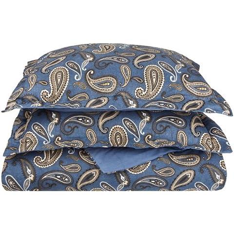 Impressions-Set copripiumino di flanella, cotone, motivo: Paisley, colore: blu Navy, matrimoniale/King size, California