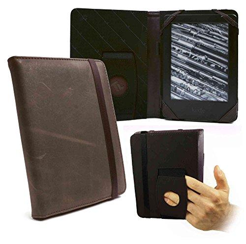 "Tuff-Luv Etui Embrace pourAmazon Kindle 4 / Touch / Paperwhite / 6"" E-Ink e-reader o e-readers - Cuir Veritable Effet 'Western' -Marron"