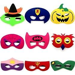 thematys® Máscaras para Niños Superhéroe Máscara Set de 9 - Perfecto para Cumpleaños y Carnaval - Disfraz para Niños - Talla única