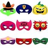 thematys Kinder-Masken Superhelden Maske 9er Set - Perfekt für Geburtstag Karneval & Fasching - Kostüm für Kinder - Einheitsgröße