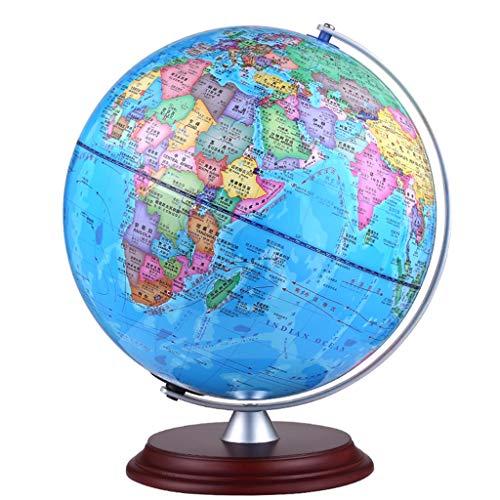 JIAHE115 Desktop Globus HJCA Hochwertige Hölzerne Globe Student Teaching Office Study HD Ornamente Größe: 42 * 30 cm Farbe: Dunkel Lernutensilien, büro Dekoration, Handwerk
