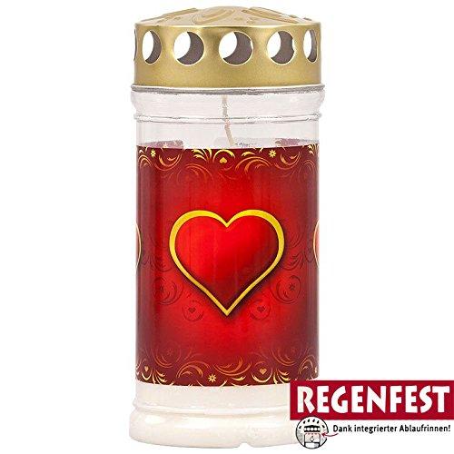 Grablicht Aeterna mit Herz Motiv, 4 Tage Brenndauer, Regenfest, Golddeckel (20)