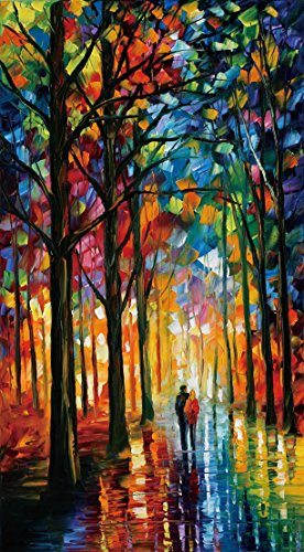 van-eyck-couple-walking-in-tree-lined-paths-colorful-palette-knife-oil-painting-of-tree-wall-canvas-