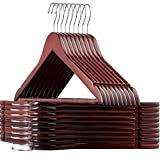 STAR WORK Wooden Coat Hangers - (20 Pack Cherry) Heavy Duty Space Saving Clothes Hangers with Nonslip Trouser Bar, Made of Solid Lotos Wood with Extra Smooth Finish Holds, for Heavy Garment