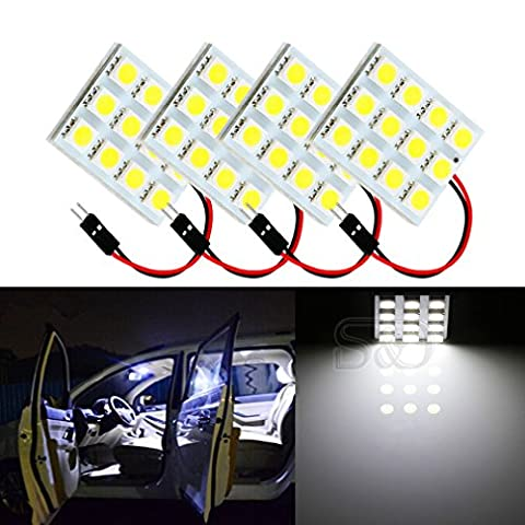 S&D 4-Pack Car Interior Bulbs 12 LED Super Bright Dome