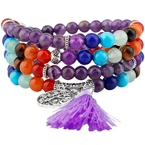 Shanxing 108 Perlen Edelstein Yoga Armband Schmuck Buddha Buddhistische Tibetische Gebetskette Mala Kette Halskette,7 Chakra & Amethyst